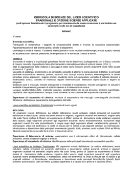 CURRICOLA DI SCIENZE DEL BIENNIO DEL LICEO SCIENTIFICO