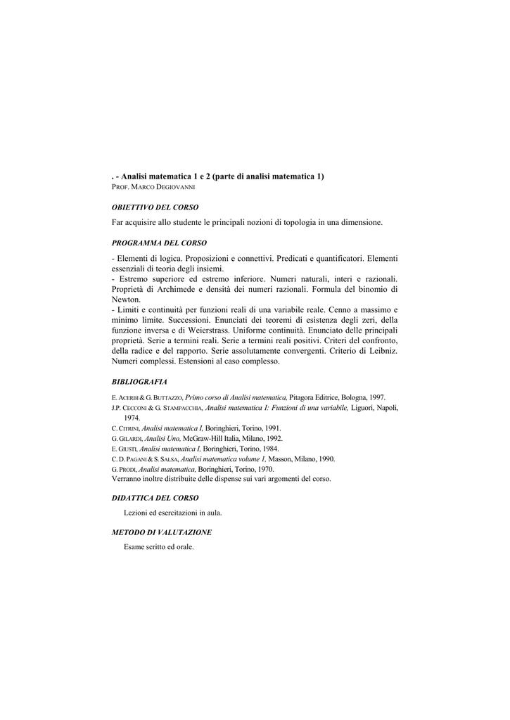 Prodi Analisi Matematica Pdf