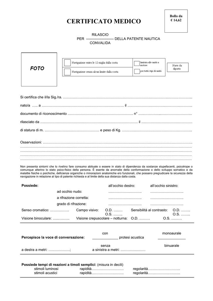modulo certificato medico patente nautica
