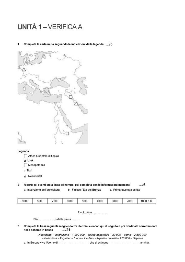 Cartina Mesopotamia Muta.Unita 1 Verifica A 1 Completa La Carta Muta Seguendo Le Indicazioni