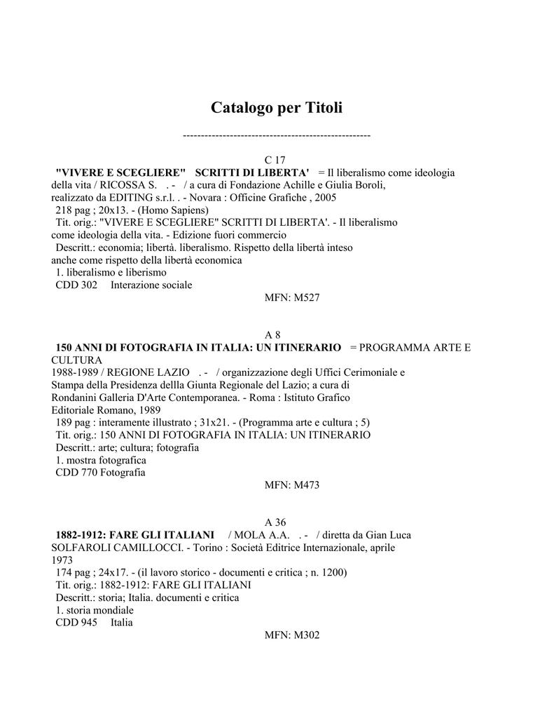 bc89a29dcc04 Catalogo per Titoli ---------------------------------------------------C 17