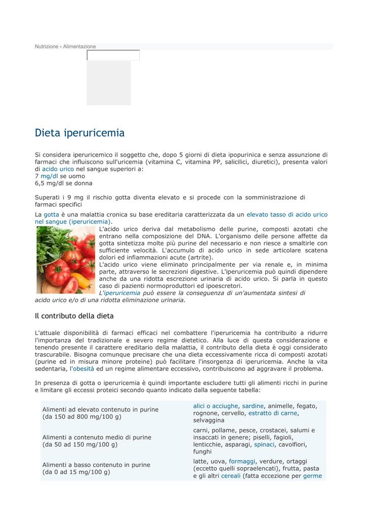 dieta per combattere lacido urico