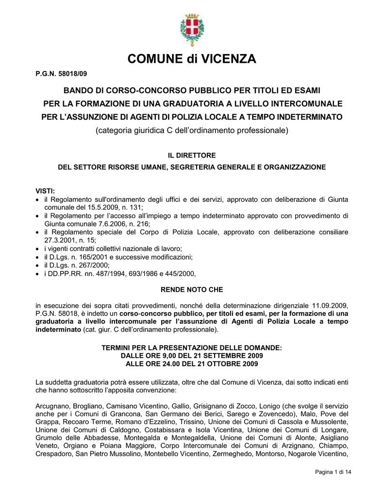 Comune Di Arcugnano Concorsi preselezione - comune di vicenza