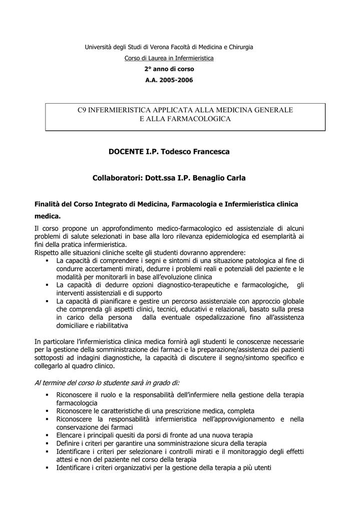 Farmaci E Infermiere Un Prontuario Per La Somministrazione.Programma Benvenuti Nel Secondo Anno Del Corso Di Infermieristica
