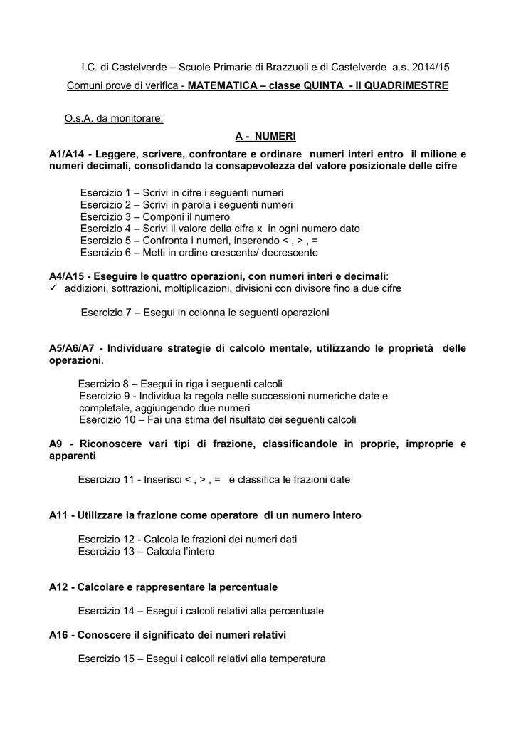 Prove di verifica finali di MATEMATICA - Classe 5^