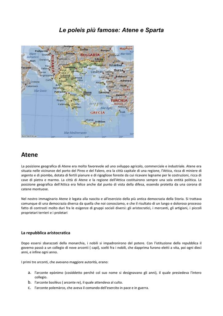 Le Poleis Più Famose Atene E Sparta Atene La Posizione Geografica
