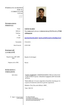 Formato Europeo Per Il Curriculum Vitae Informazioni Personali