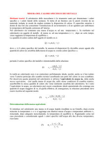 CALORE SPECIFICO - Laboratorio di fisica