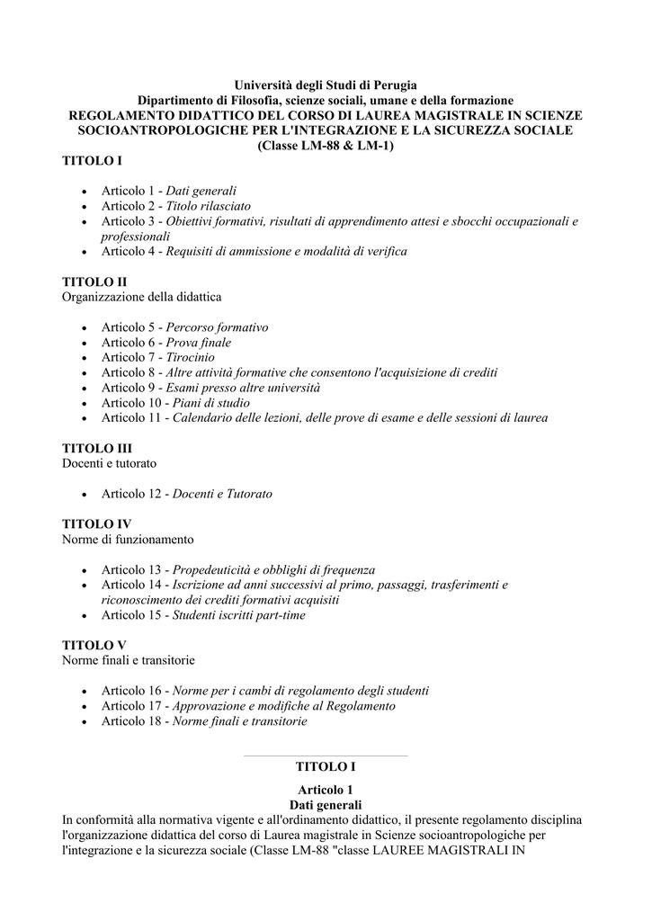Calendario Esami Unipg Economia.Regolamento Didattico A A 2016 17
