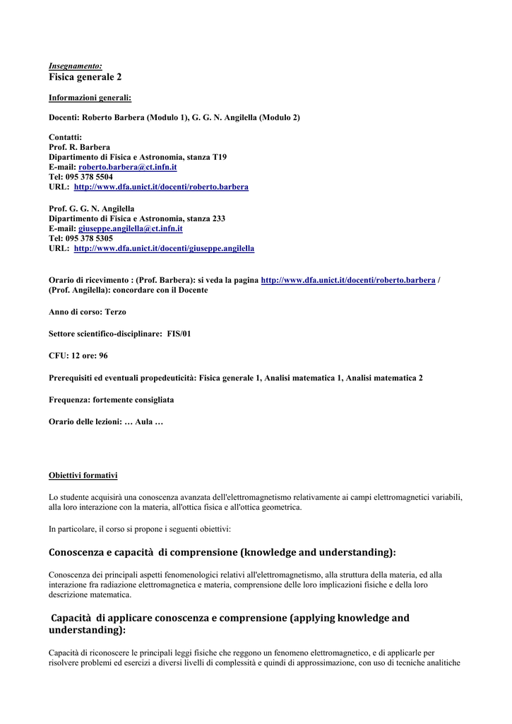 Calendario Lezioni Unict.Insegnamento Fisica Generale 2 Informazioni Generali Docenti