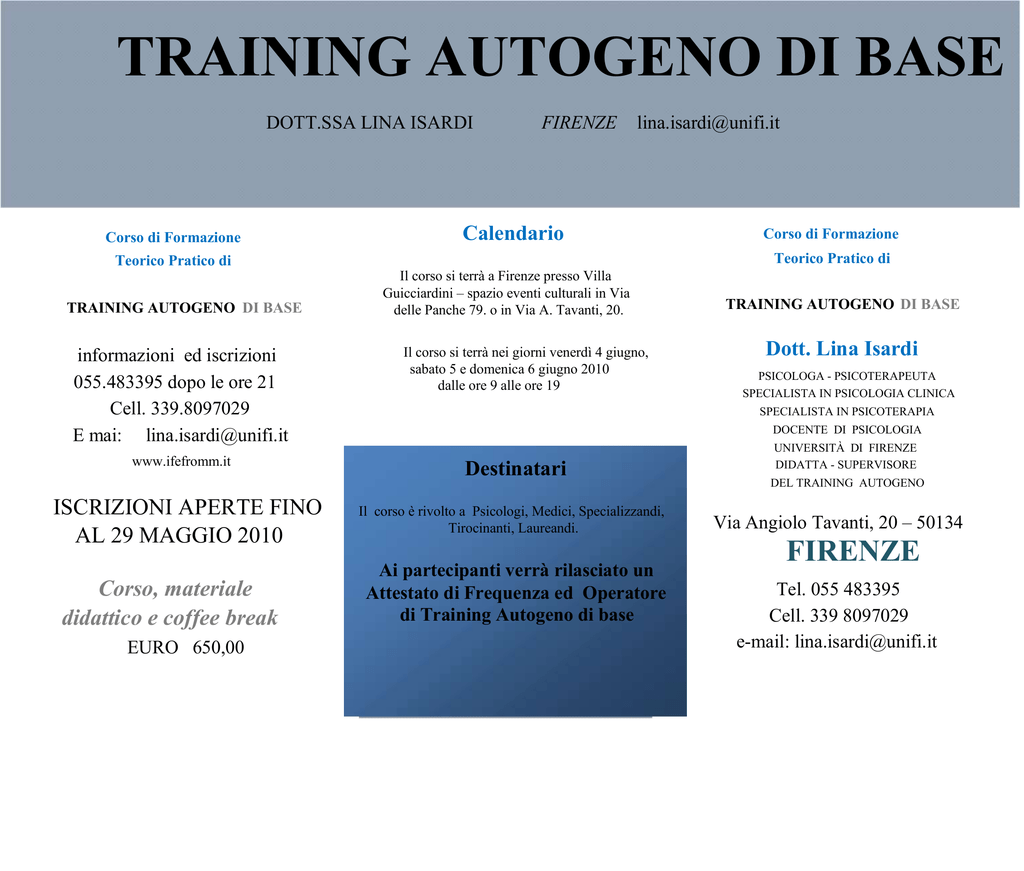 Calendario Unifi.Training Autogeno Di Base Dott Ssa Lina Isardi Firenze