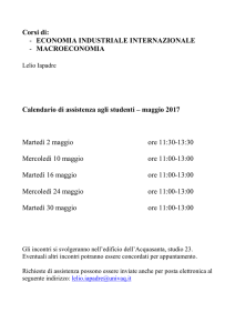 Calendario di assistenza agli studenti