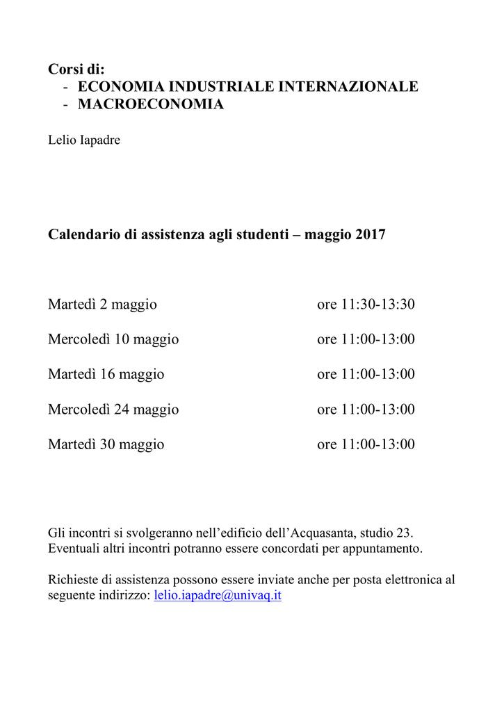 Calendario Esami Unibg Economia.Calendario Di Assistenza Agli Studenti