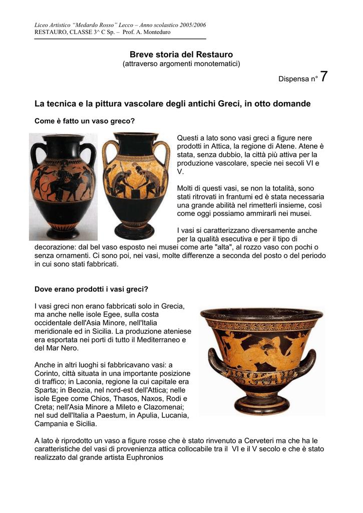 Decorazioni Dei Vasi Greci.Tecnica E Pittura Vascolare Nell Antica Grecia
