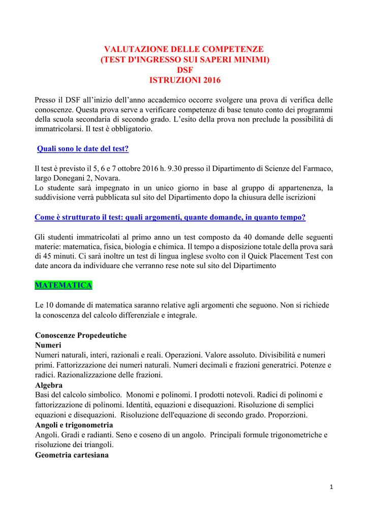Sito SCIENZE BIOLOGICHE - ISTRUZIONI 2016 test ingresso