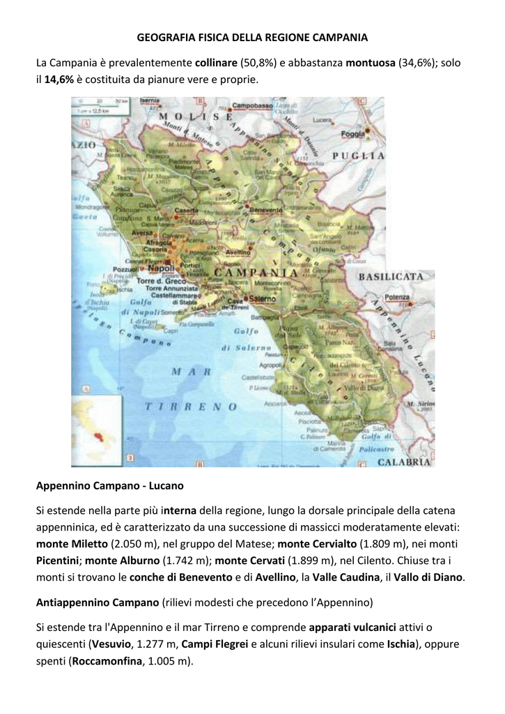 Cartina Fisica Della Calabria.Geografia Fisica Della Campania