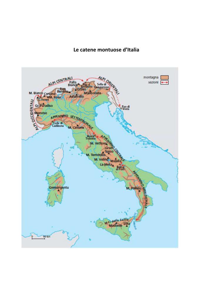 Cartina Dell Italia Alpi E Appennini.Le Catene Montuose D Italia
