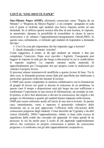 "COS`È IL ""ONE-MINUTE PAPER"""