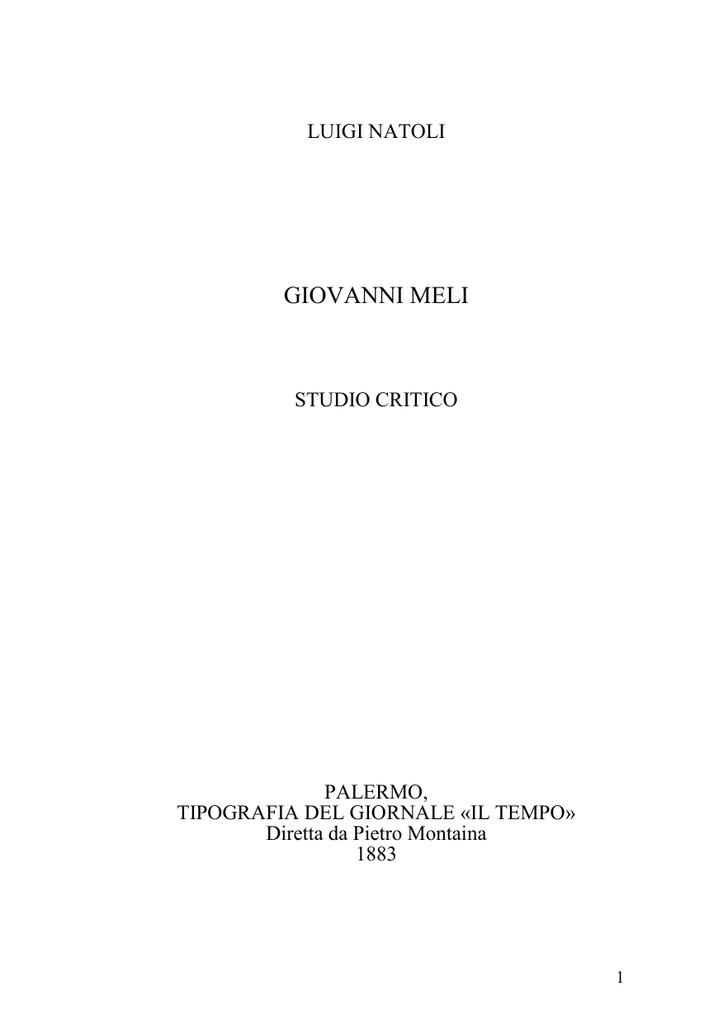 Studio Critico Di Luigi Natoli Su Giovanni Meli