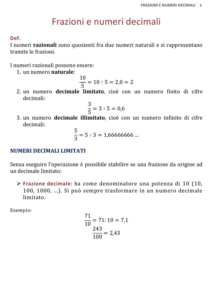 buy popular 6d01b 30add Frazioni e numeri decimali