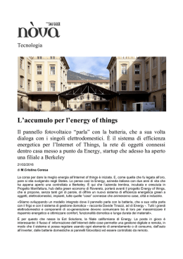 L`accumulo per l`energy of things