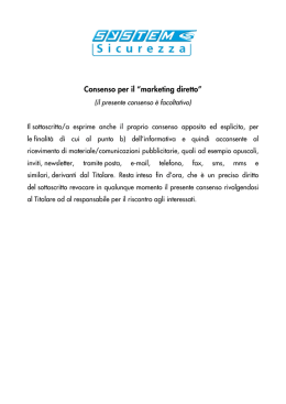 "Consenso per il ""marketing diretto"""