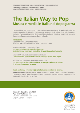 The Italian Way to Pop - consulta universitaria cinema
