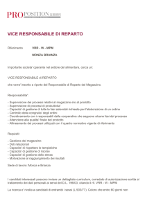 vice responsabile di reparto - ProPosition Management Search