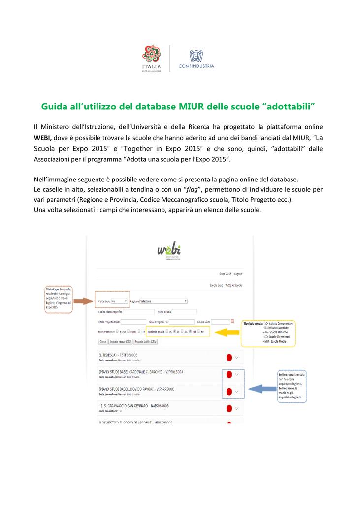 """cfc9317c8e19 Guida all`utilizzo del database MIUR delle scuole """"adottabili"""""""