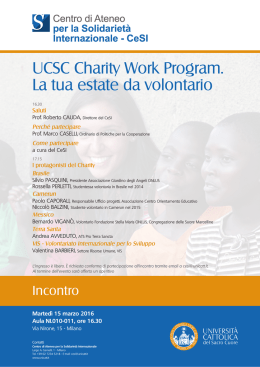 UCSC Charity Work Program. La tua estate da