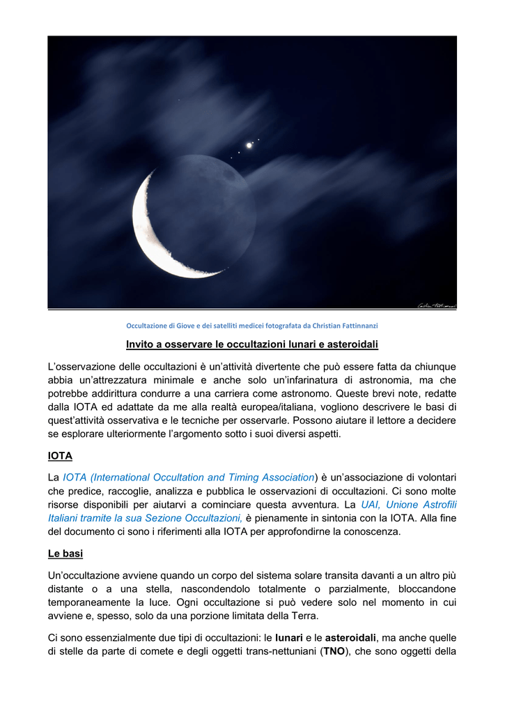 Invito a osservare le occultazioni lunari e asteroidali L