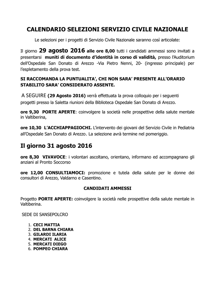 San Donato Calendario.Calendario Selezioni Servizio Civile