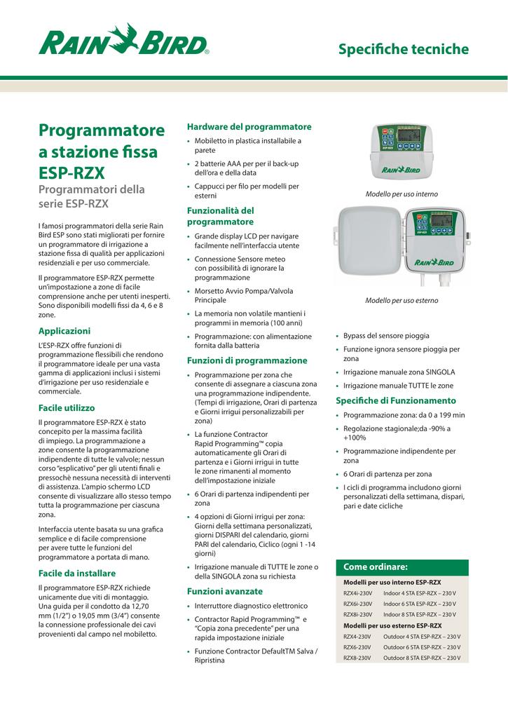 Specifiche Tecniche Programmatore A Stazione Fissa Esp