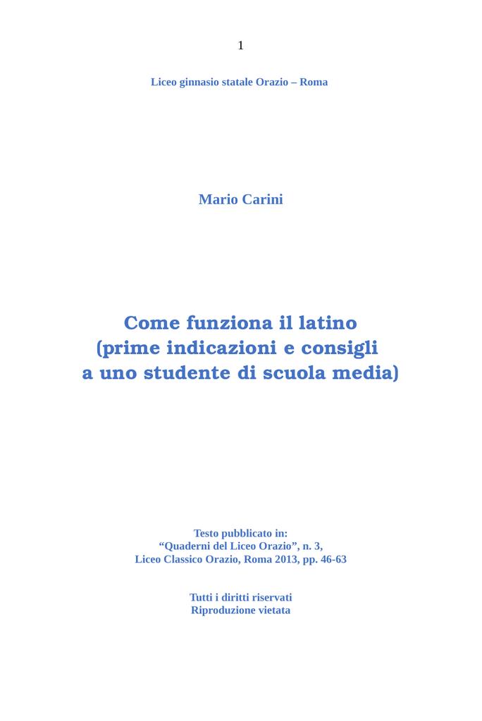 Liceo Classico con la C maiuscola Frasi in greco e latino
