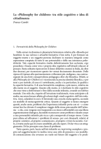 La «Philosophy for children» tra stile cognitivo e idea di