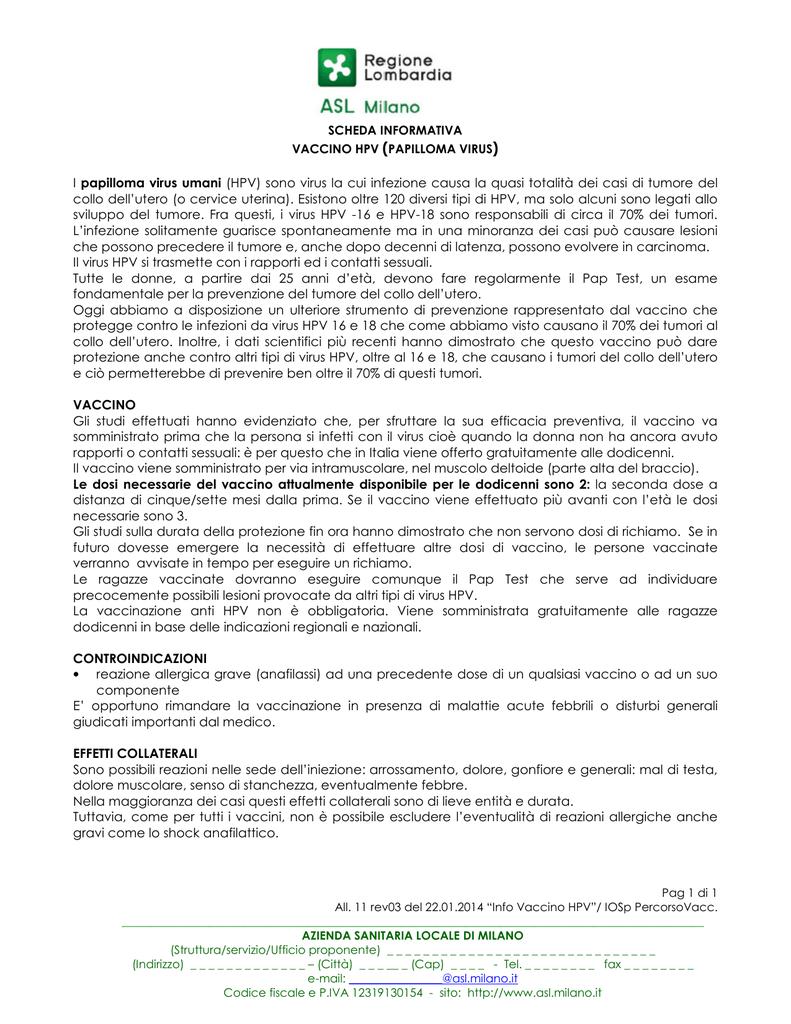 vaccino papilloma virus regione lombardia