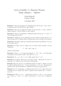 Liceo scientifico A. Einstein Teramo Stage olimpico – Algebra
