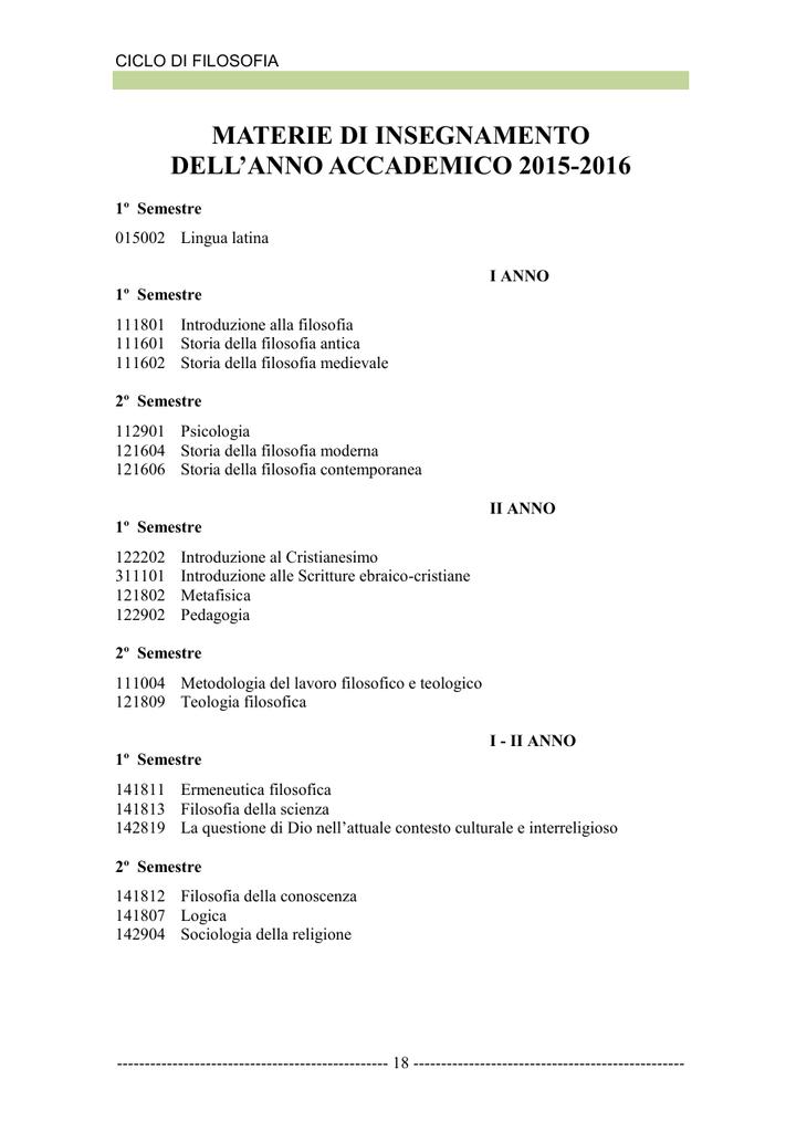 d34cc7909 materie di insegnamento dell`anno accademico 2015-2016