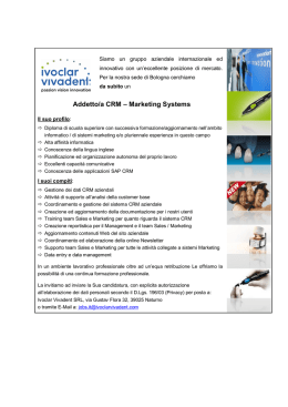 Addetto/a CRM – Marketing Systems