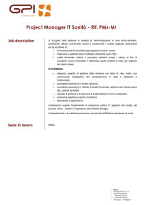 Project Manager IT Sanità - Rif. PMs-MI