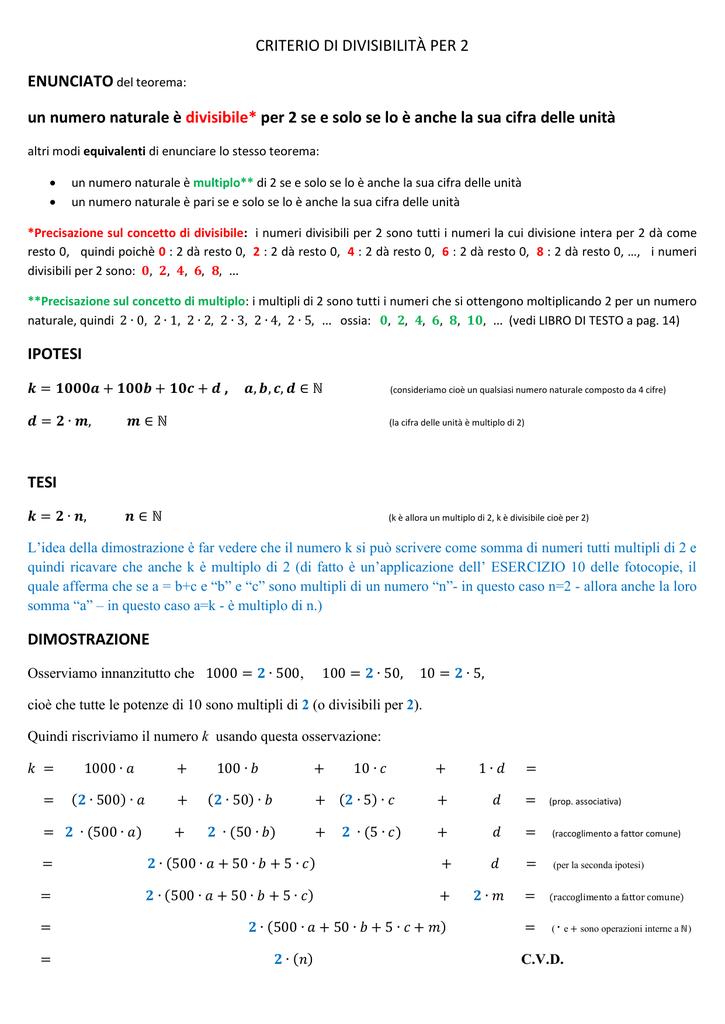 half off aa87f bdf01 CRITERIO DI DIVISIBILITÀ PER 2 un numero naturale è divisibile