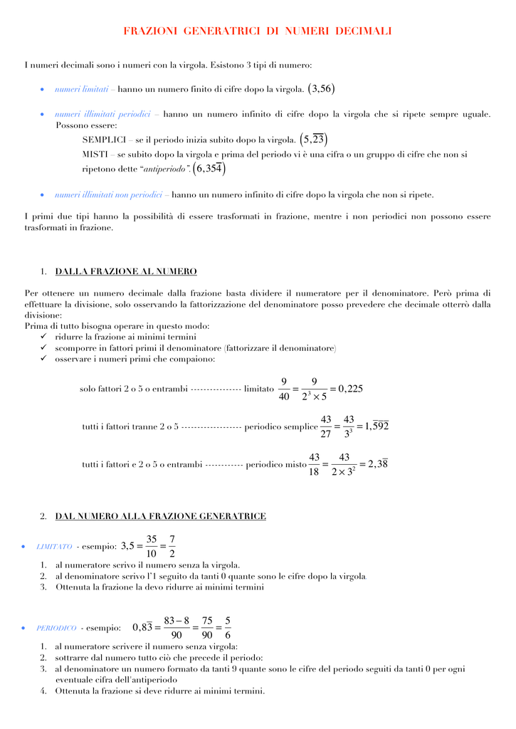 Frazioni Generatrici Di Numeri Decimali