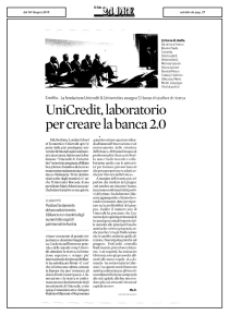 UniCredit, laboratorio per creare la banca 2.0