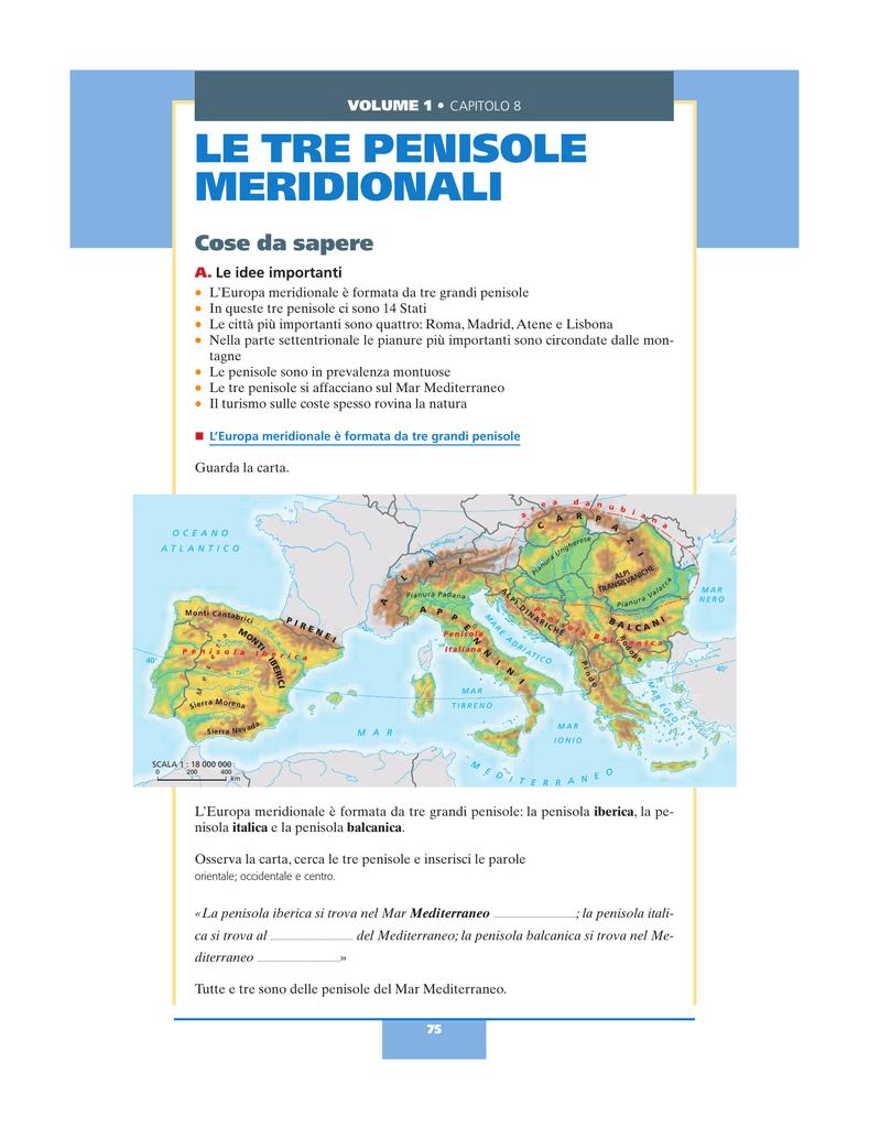 Europa Meridionale Cartina.Le Tre Penisole Meridionali Zanichelli