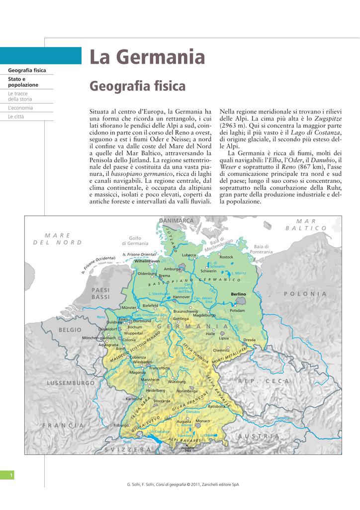 Germania Cartina Fiumi.La Germania Zanichelli Online Per La Scuola