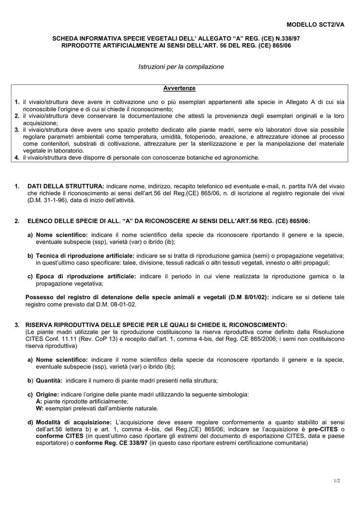 Istruzioni alla compilazione del modello SCT2/VA