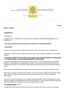 comunicato - Vatican press release