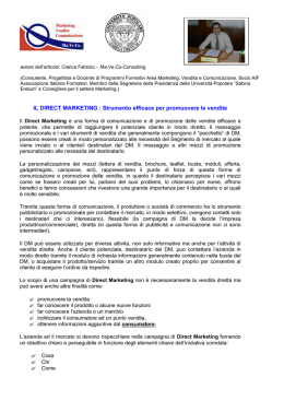 IL DIRECT MARKETING - Centro di formazione Maveco