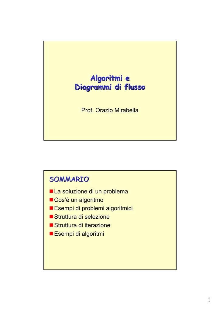 Lezione 5 Algoritmi E Diagrammi Di Flusso