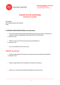 Il piano di web marketing